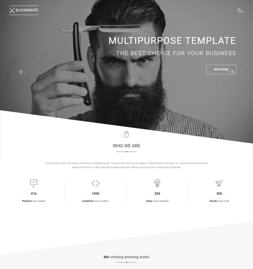 black and white creative onepage parallax wordpress theme