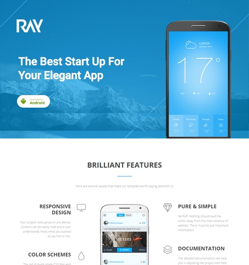 ray app landing responsive wordpress theme