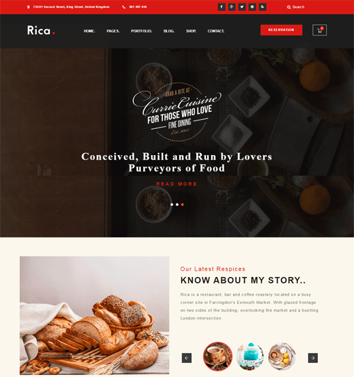 rica restaurant wordpress theme