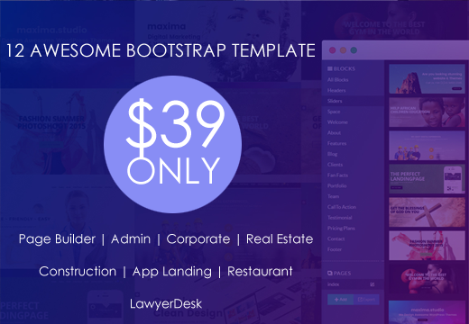 Budle HTML Offer 12 Premium Bootstrap Template Just only $39
